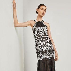 BCBG Maxazria Embroidered Halter Gown